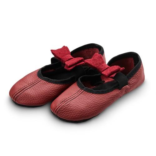 Dance slippers (bordeaux) with felt bow