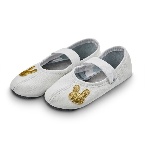 Dance slippers (white) with shiny rabbit applique