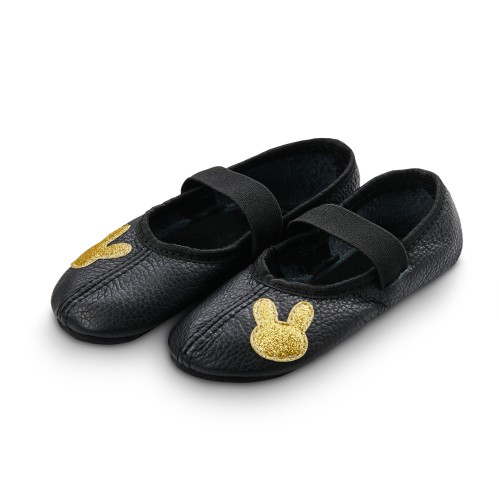 Dance slippers (black) with shiny rabbit applique