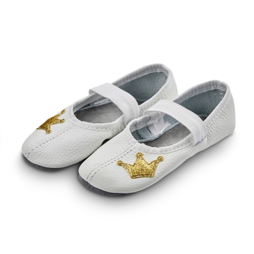 Dance slippers (white) with shiny crown