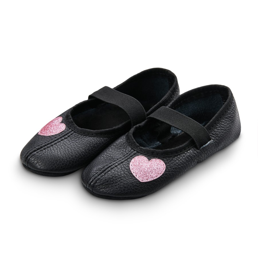 Dance slippers (black) with shiny hearts